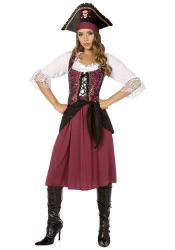 Women's Burgundy Pirate Wench Costume