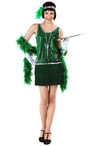 Vibrant Green Plus Size Flapper Dress
