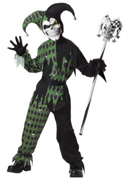 Green Scary Jester Boys Costume