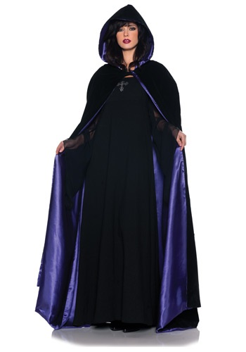 Deluxe Velvet & Satin Hooded Womens Cape