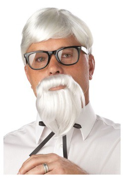 White Colonel Goatee Wig and Moustache