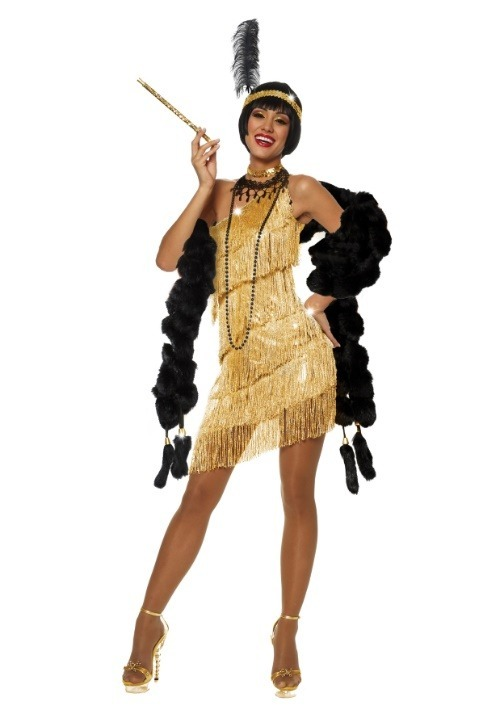 Dazzling Gold Flapper Costume For Women