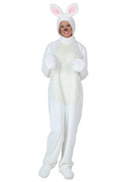 Plus Size White Bunny Costume For Adults