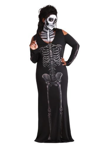 Womens Bone Appetit Skeleton Plus Size Long Dress