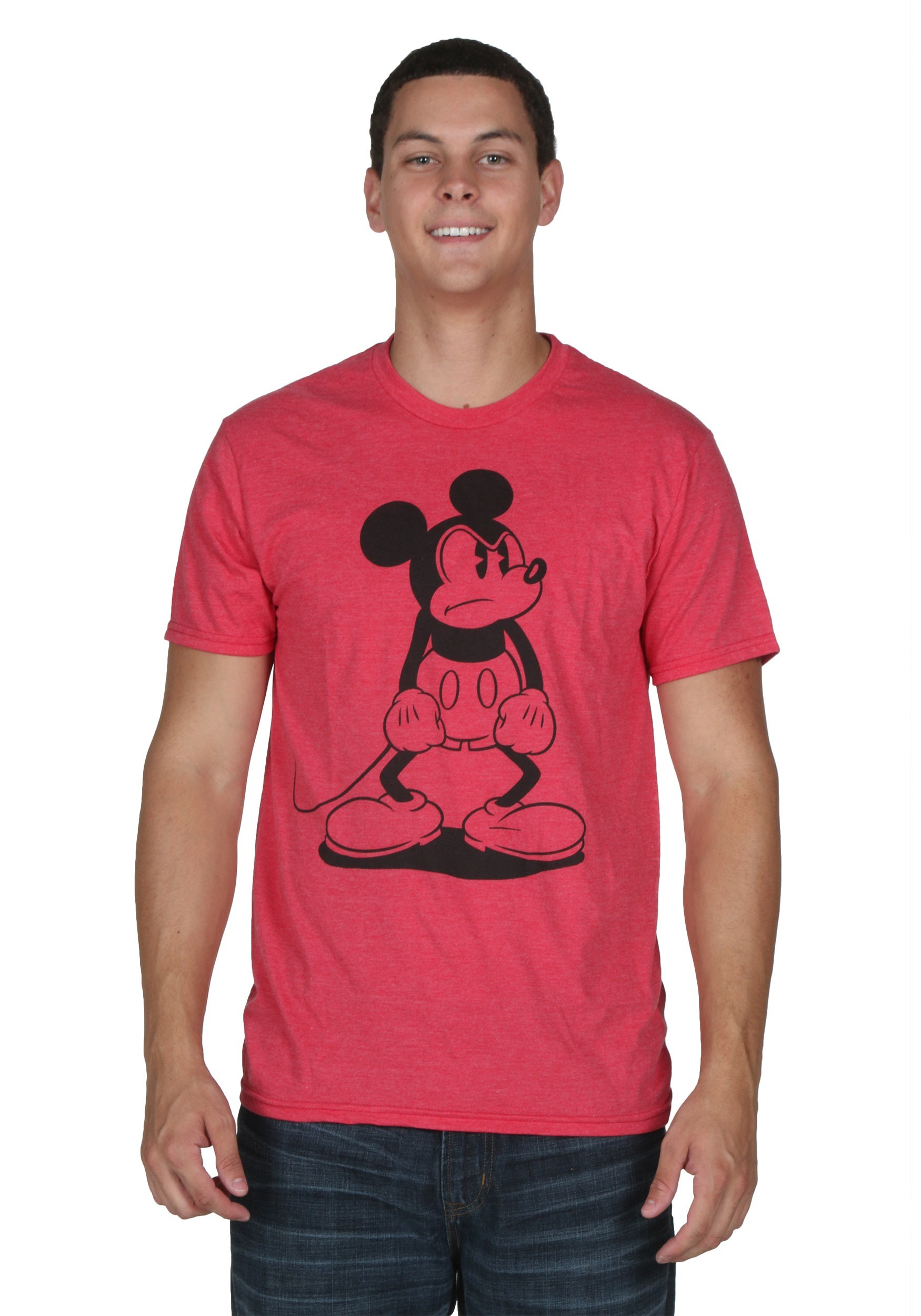men 39 s mickey mouse standing mad t shirt. Black Bedroom Furniture Sets. Home Design Ideas