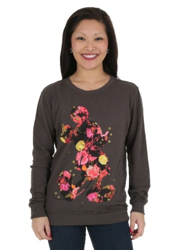 Mickey Mouse Floral Inlay Juniors Pullover