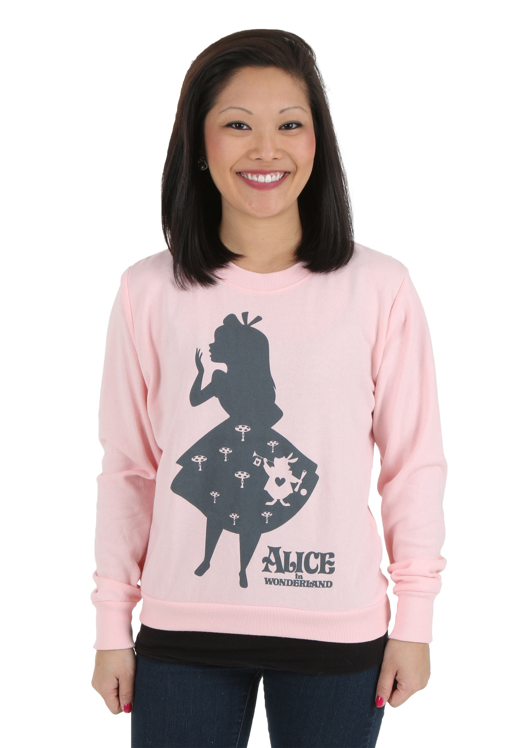 Womens Alice In Wonderland Shadow Alice Pullover Sweatshirt