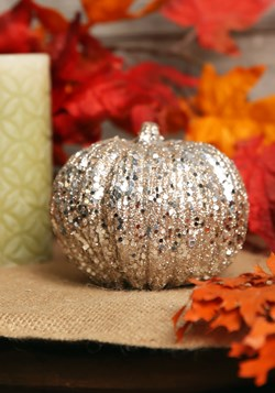 5 Inch Champagne Glitter Pumpkin Decoration