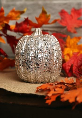 Champagne Glitter Pumpkin Halloween Decor