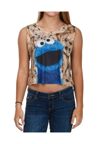 Cookie Monster Big Photoreal Cookie Juniors Tank
