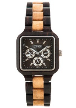 Tense Summit Men's Multi Black / Brown Wood Watch