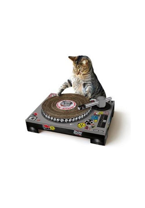 Cardboard Cat DJ Scratching Deck