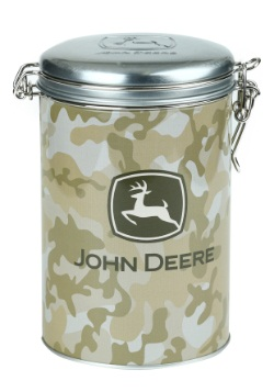John Deere Tan Camo Round Lock-Top Tin