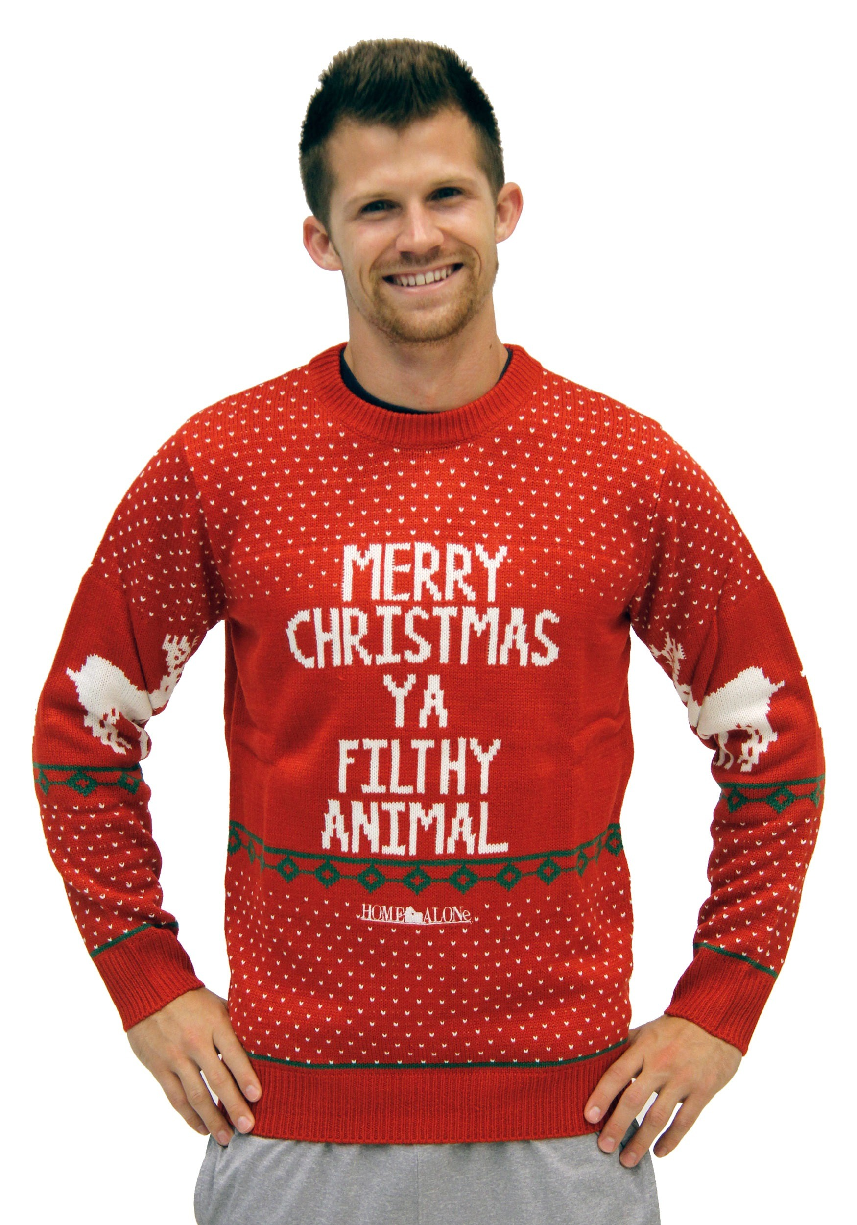 2f65f3631 Plus Size Home Alone Red Merry Christmas Ya Filthy Animal Sw
