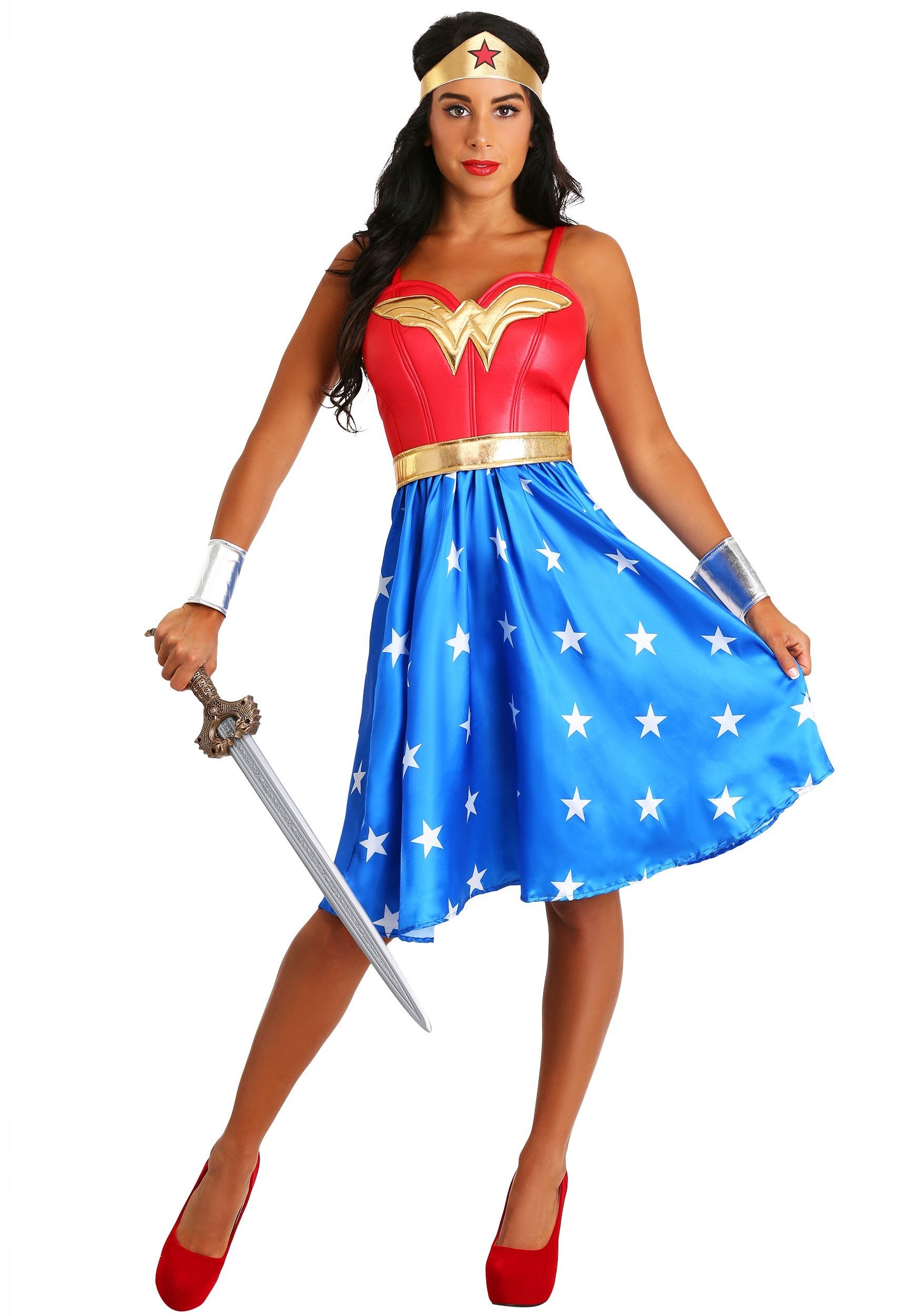 deluxe long dress wonder woman costume for women rh fun co uk Wonder Woman Costume for Women Wonder Woman Costume Emblem