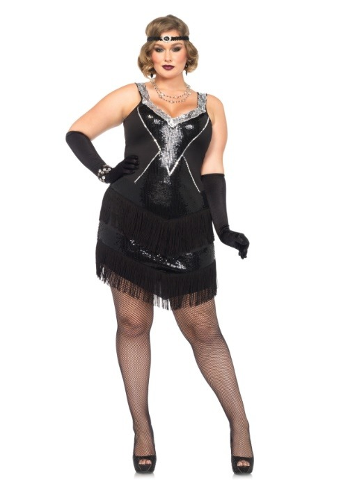 Glamour Flapper Costume For Plus Size alt 1