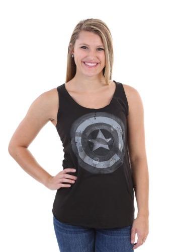 Captain America Watercolor Shield Juniors Tank Top