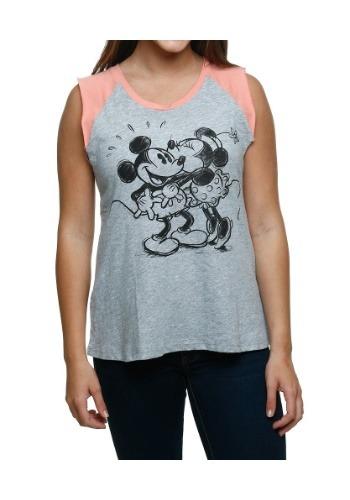Mickey & Minnie Kiss Juniors Raglan Muscle Tank