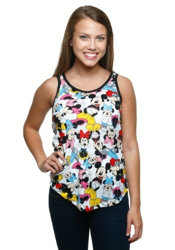 Mickey & Minnie All Over Ringer Tank Top