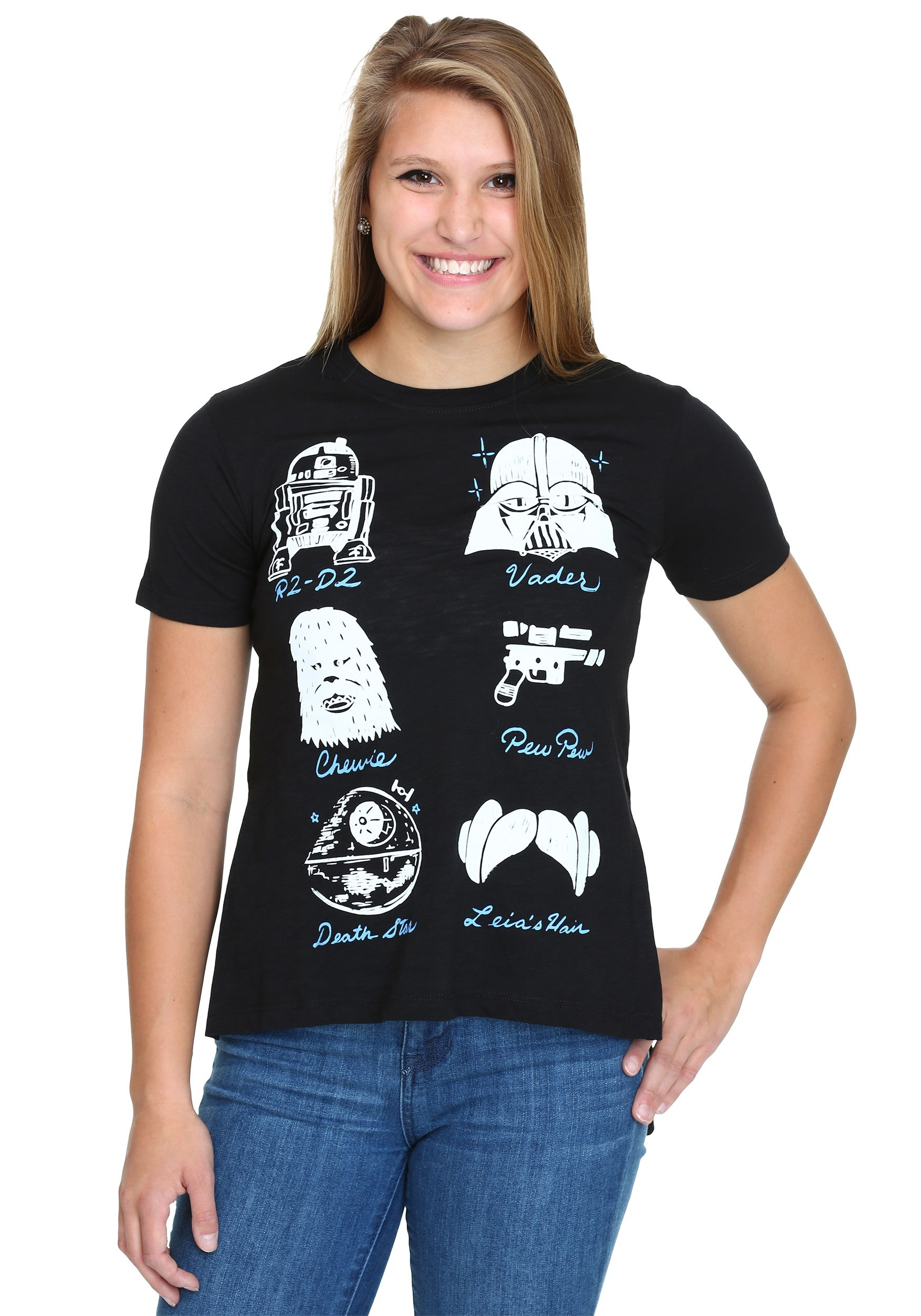 fbd111613f Star Wars Doodles Juniors Hi Low T-Shirt