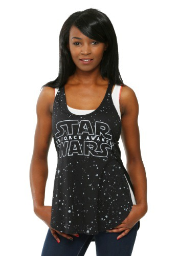 Star Wars Force Awakens Star Background Juniors Racer Tank