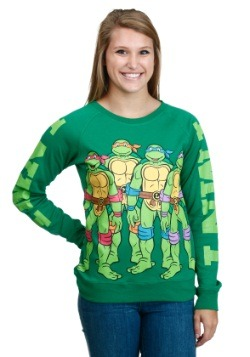 Juniors TMNT Group Front Back Vintage Sleeve Pull Over