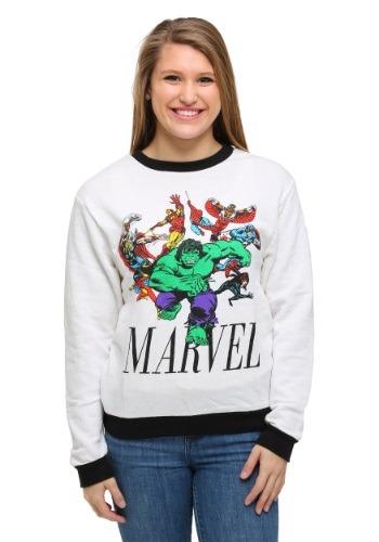 Womens Marvel Avengers Hulk Run Ringer Pullover Sweatshirt