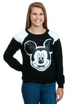 Juniors Mickey Mouse Contrast Shoulder Pullover
