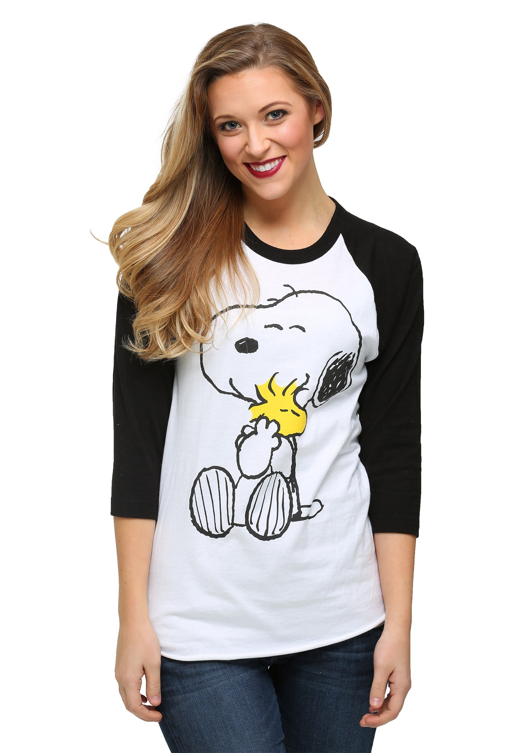 7b8526573 Peanuts Snoopy And Woodstock Hugging Juniors Raglan Shirt