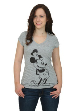Steamboat Mickey Front & Back Print Juniors V-Neck T-Shirt