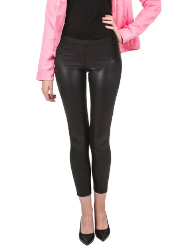 Women's Black Shiny Leggings w/ Faux Front Fly