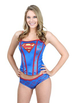 Superman Printed Corset And Panty Set