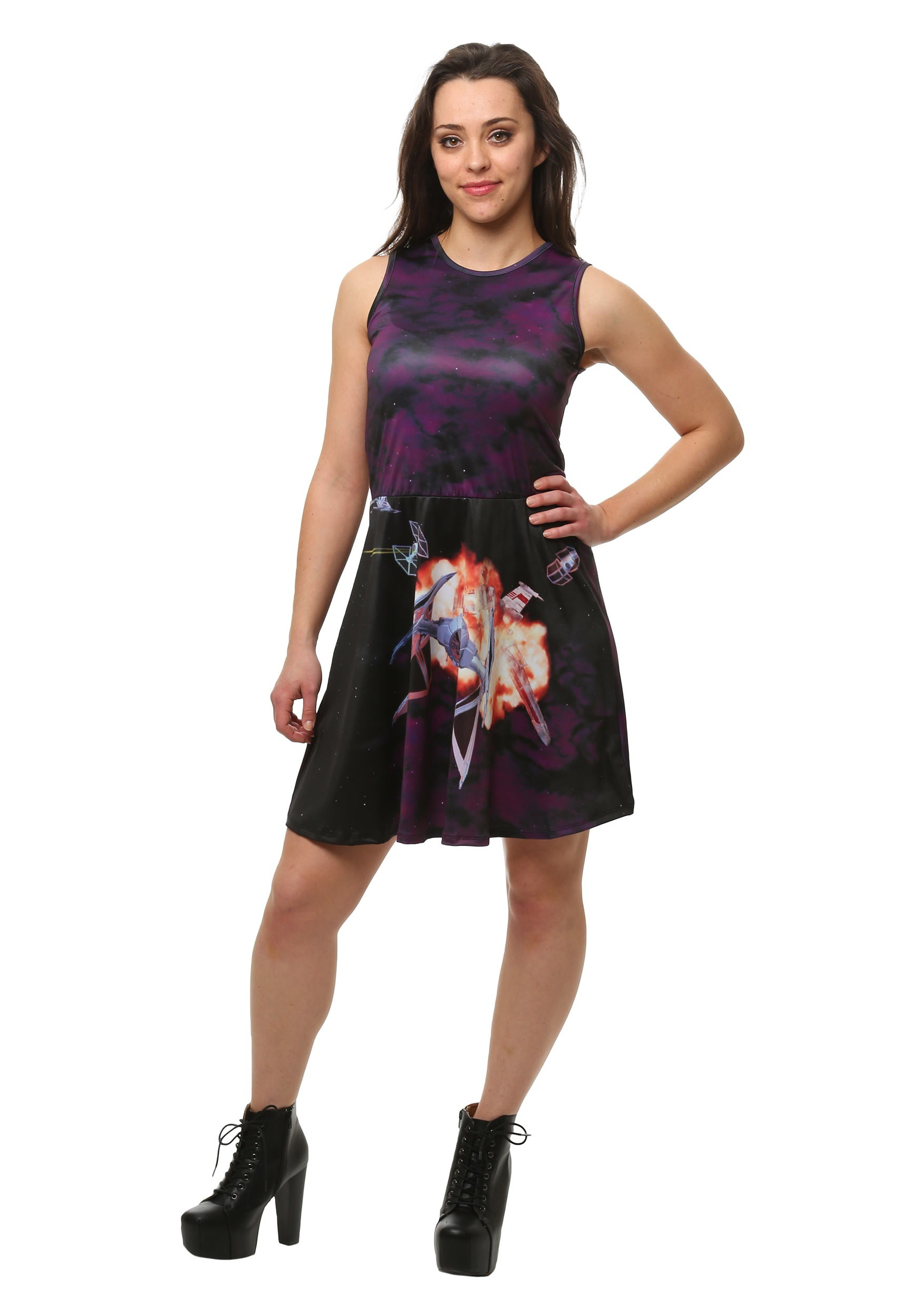 504a92e7e4 Star Wars Sublimated Ship Scene Tank Skater Dress