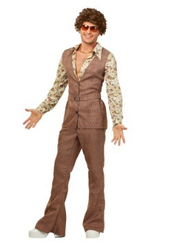 Men's 70's Brown Disco Suit Costume