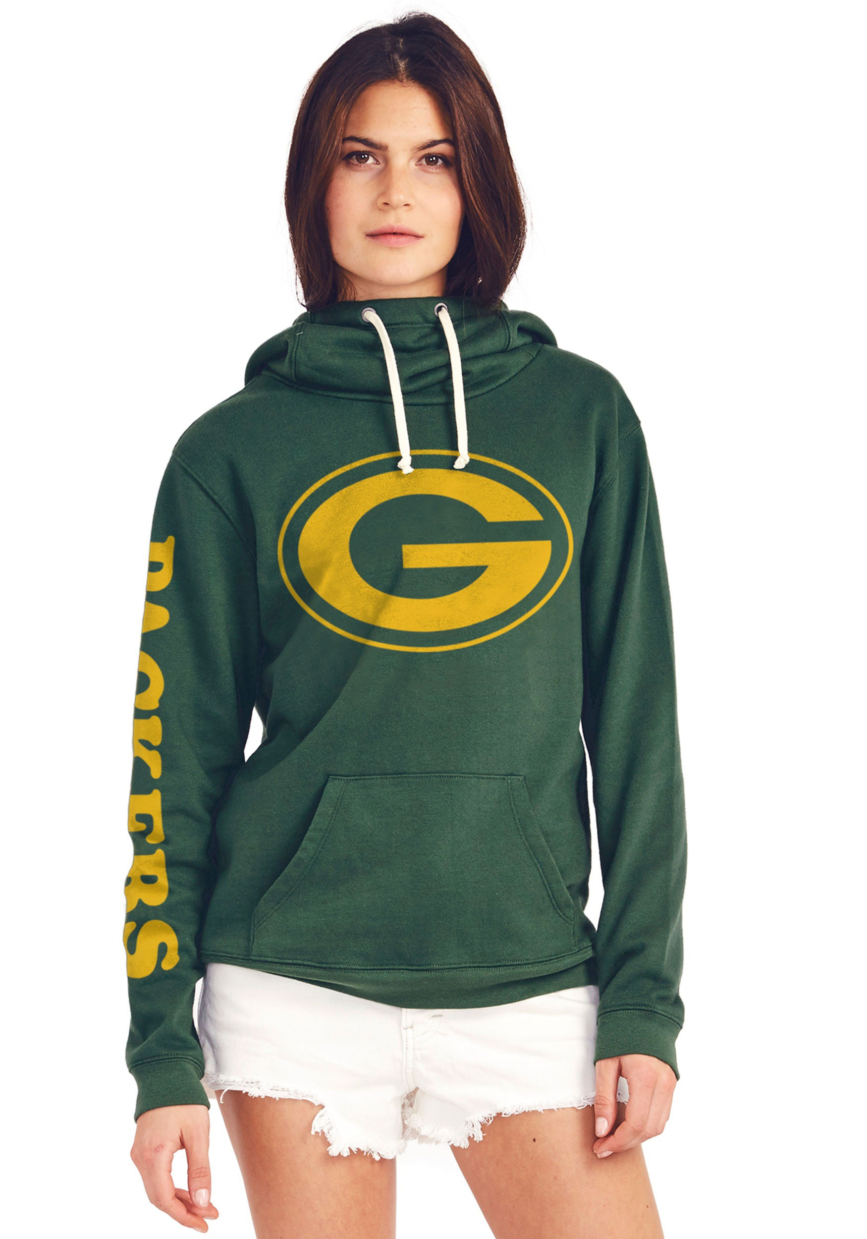 Green Bay Packers Women s Cowl Neck Hooded Sweatshirt 81113603e