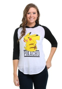 Pokemon Pikachu Smile Juniors Hooded Raglan Shirt