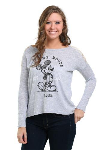 Mickey Mouse Hacci Crochet Juniors Hi Low Sweatshirt