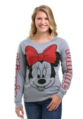 Minnie Mouse Big Face Print Juniors Raglan Sweatshirt