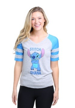 Stitch My Spirit Animal Juniors Striped Sleeve Raglan Shirt