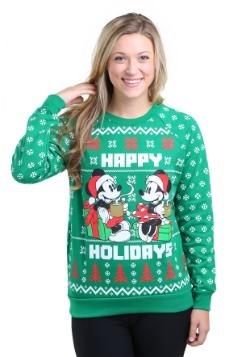 Mickey Mouse Happy Holidays Juniors Pullover Sweatshirt