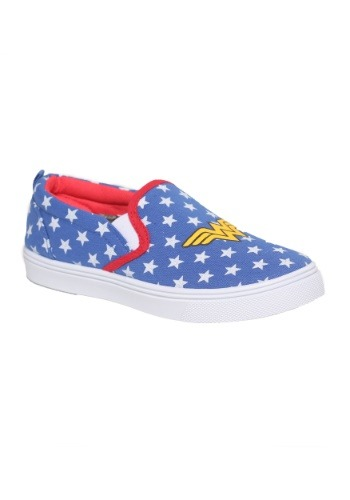 Wonder Woman Logo Slip-On Girls Canvas Shoes