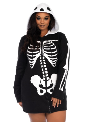Plus Size Cozy Skeleton Costume for Women