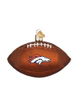 Denver Broncos Glass Football Ornament