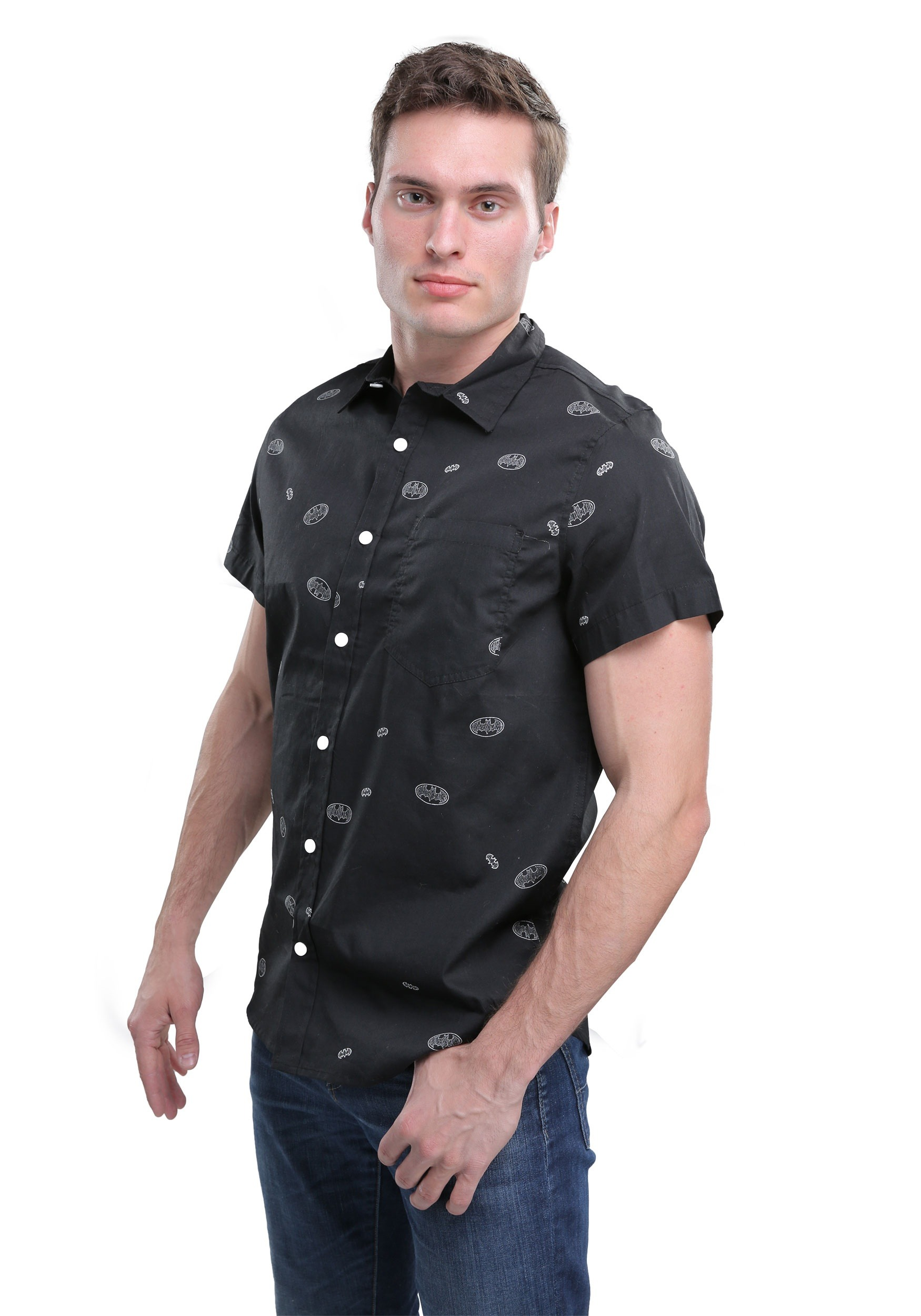 523724198893 DC Comics Batman Woven Button Down Shirt for Men