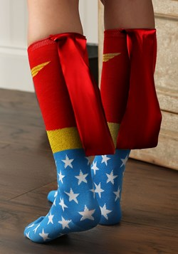 Wonder Woman Knee High Shiny Caped Socks