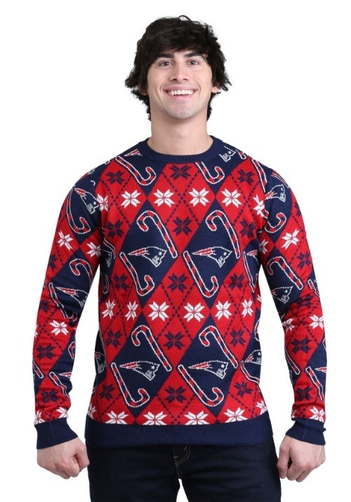 New England Patriots Candy Cane Sweater