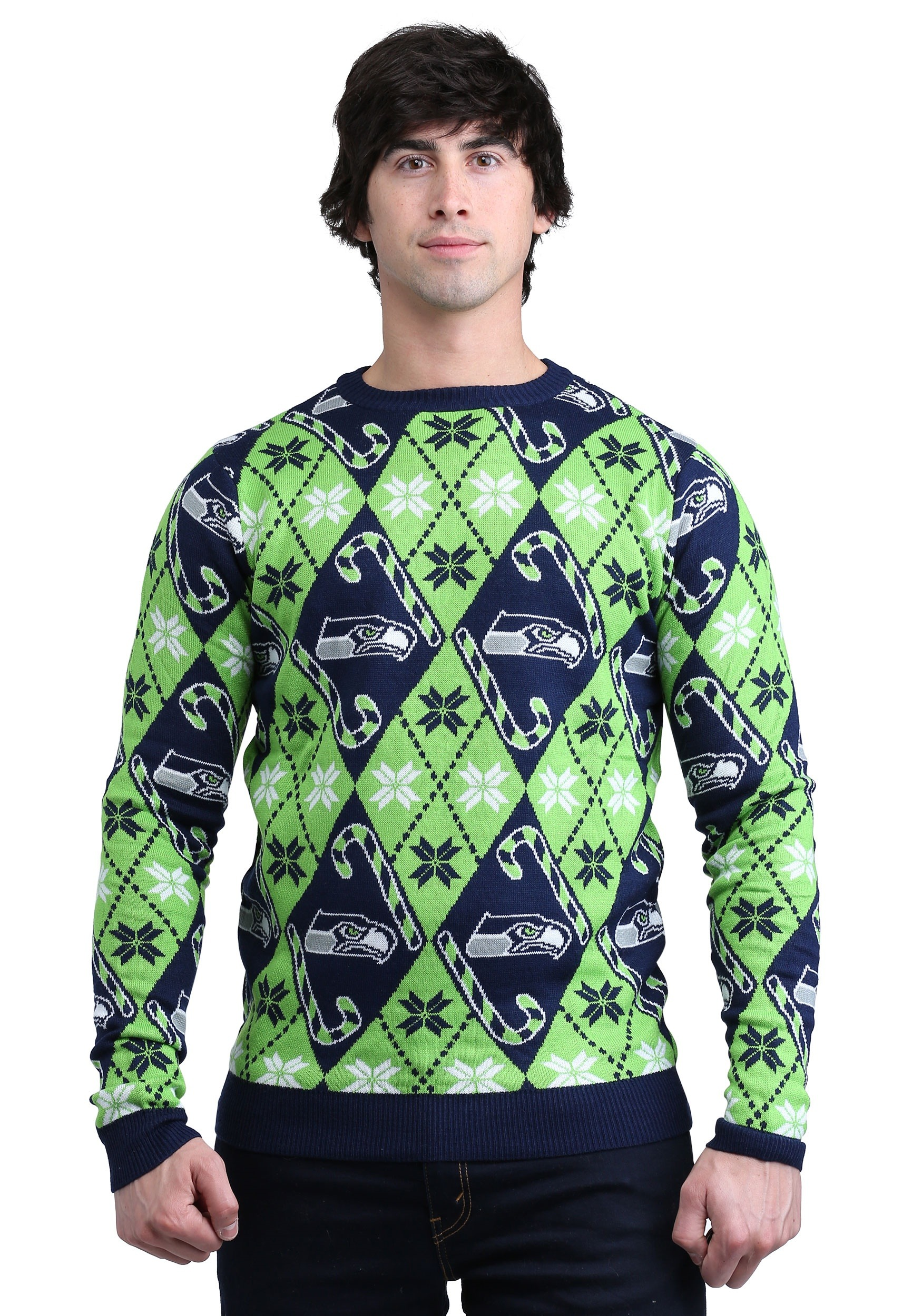 Seattle Seahawks Candy Cane Ugly Christmas Sweater