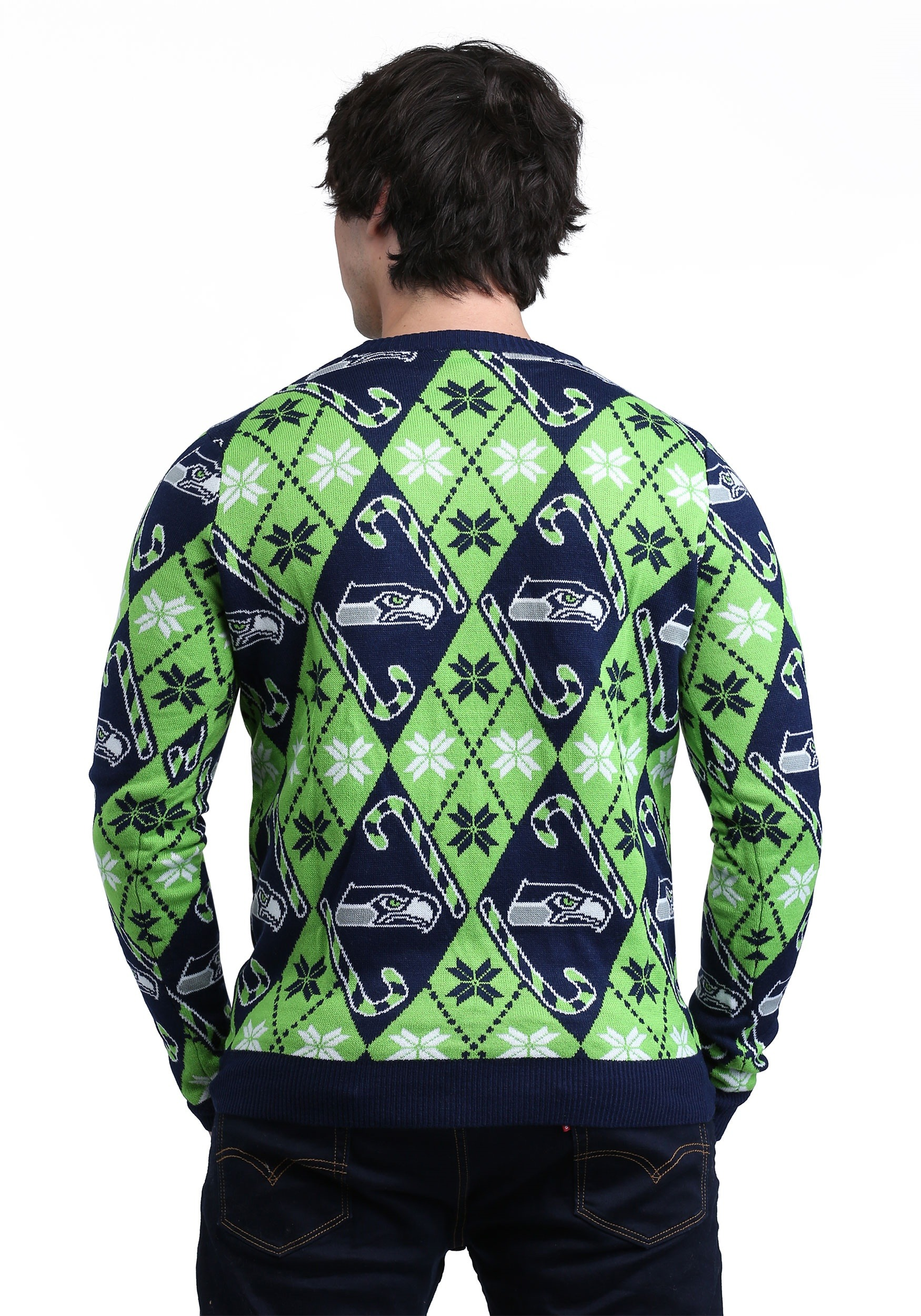 quality design 010ac 8e8bb Seattle Seahawks Candy Cane Ugly Christmas Sweater