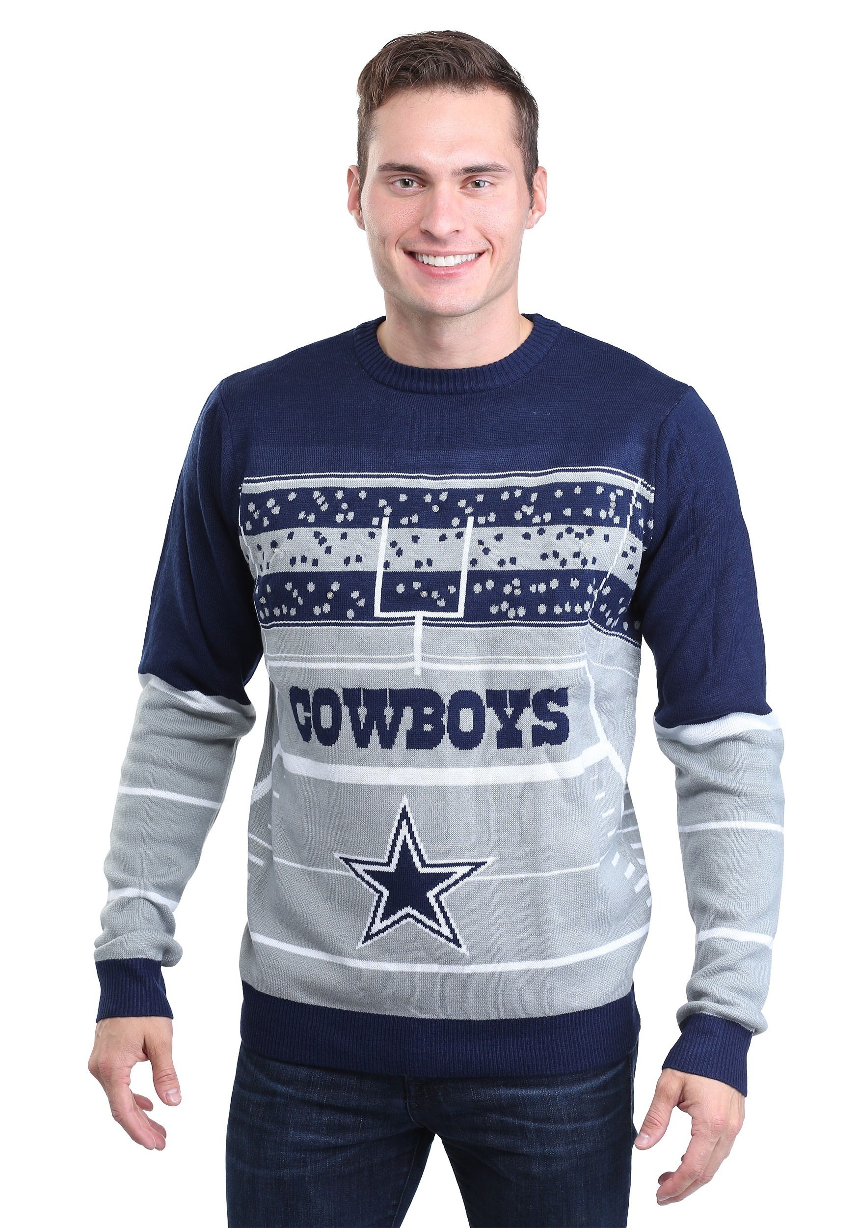 wholesale dealer d47b5 f620e Dallas Cowboys Stadium Light Up Ugly X-Mas Sweater