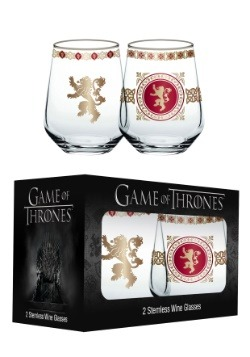 Game of Thrones House Lannister 14 oz Stemless Wine Glasses
